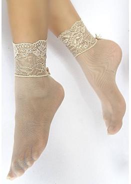 Къси дантелени чорапи с панделки Sia 006-3