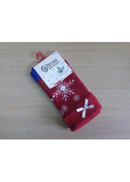 Коледни чорапи със снежинка и панделка