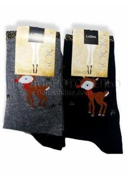 Коледни дамски чорапи от памук с елен La Diva 7509