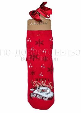 Коледни дамски памучни чорапи Merry Christmas на снежинки с Дядо Коледа в червен цвят Pier Lone