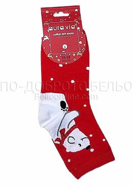 Коледни дамски памучни чорапи с бял мечок в червен цвят Aura Via 7435