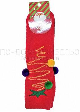 Коледни дамски памучни чорапи с цветни помпони в червен цвят Aura Via 7659
