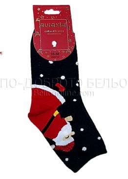 Коледни дамски памучни чорапи с Дядо Коледа в черен цвят Aura Via 7435