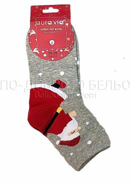 Коледни дамски памучни чорапи с Дядо Коледа в сив цвят Aura Via 7435
