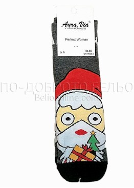 Коледни дамски памучни чорапи с Дядо Коледа в сив цвят цвят Aura Via 7430