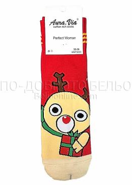 Коледни дамски памучни чорапи с еленче в червен цвят Aura Via 7430