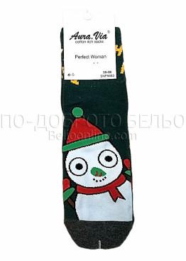 Коледни дамски памучни чорапи със снежен човек в маслено зелен цвят Aura Via 7430