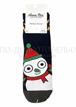 Коледни дамски памучни чорапи със снежен човек в тъмно син цвят Aura Via 7430