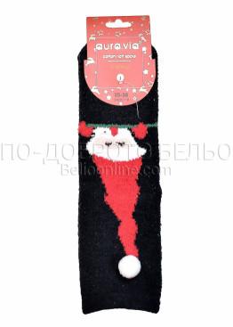Коледни меки дамски термо чорапи с Дядо Коледа с помпон Aura Via 7659 в черно