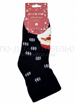 Коледни меки дамски термо чорапи с Дядо Коледа и подгъв Aura Via 5086 в черно