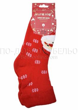 Коледни меки дамски термо чорапи с Дядо Коледа и подгъв Aura Via 5086 в червено