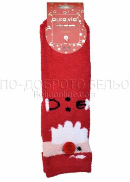 Коледни меки дамски термо чорапи с Дядо Коледа с помпон Aura Via 7659 в червено