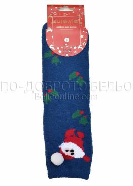 Коледни меки дамски термо чорапи с Дядо Коледа с помпон Aura Via 7659 в синьо