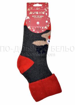 Коледни меки дамски термо чорапи с еленче и подгъв Aura Via 5086 в сиво