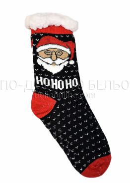 Коледни пухкави чорапи със Дядо Коледа Ho Ho Ho и стопери на ходилото 7654 в черно