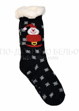 Коледни пухкави чорапи със снежен човек и стпери на ходилото 7654 в черно