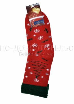 Коледни пухкави топли чорапи с коледни мотиви и елха 7429 в червено