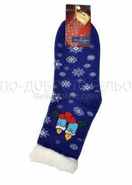 Коледни пухкави топли чорапи със снежинки и свещички 7429 в синьо