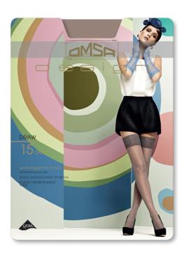 Луксозни фигурални силиконови чорапи с дантела Omsa Draw 15den