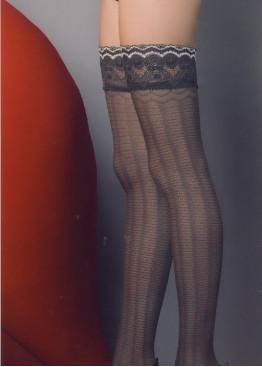 Луксозни фигурални силиконови чорапи с дантела Omsa Kindly 30den