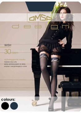 Луксозни фигурални силиконови чорапи с дантела Omsa Wish 30den