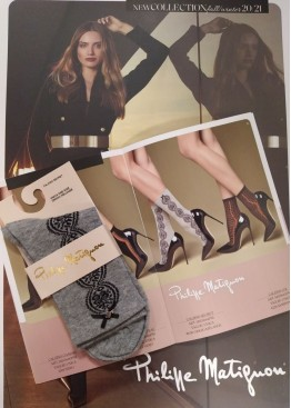 Луксозни къси блестящи чорапи с декорация на дантела и малка сатенена панделка с ключе Philipe Matignon Secret