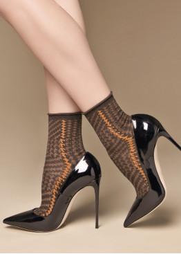 Луксозни къси блестящи чорапи със златно ламе в пепит Philipe Matignon Col