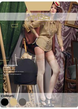 Луксозни плътни силиконови чорапи с дантела Omsa Knit 60den