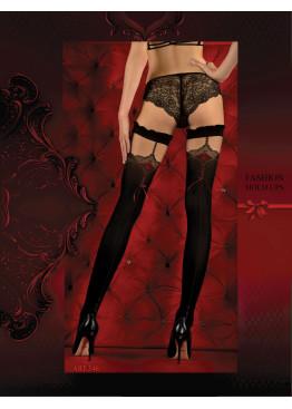 Луксозни секси силиконови чорапи с червен ръб и панделка Studio Collant 346