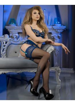 Луксозни секси силиконови чорапи в черен цвят със синя дантела и татус Studio Collant 475