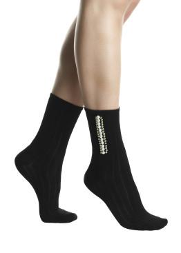Модерни дамски къси оребрени памучни чорапи с перли Pompea Julia в черно