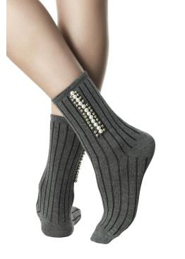 Модерни дамски къси оребрени памучни чорапи с перли Pompea Julia в сив меланж