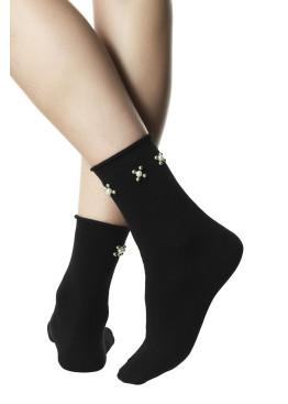 Модерни дамски къси памучни чорапи с перли Pompea Beatrix в черно