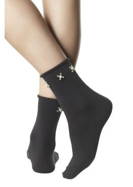 Модерни дамски къси памучни чорапи с перли Pompea Beatrix в тъмно сиво