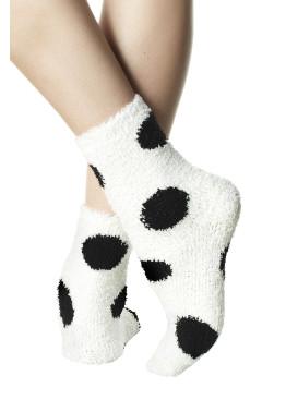 Пухкави дамски къси чорапи с принт на големи точки Pompea Animal Dots