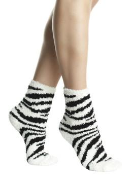 Пухкави дамски къси чорапи с принт зебра Pompea Animal Zebra