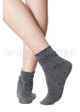Сребристи къси дамски чорапи на точки Pompea Argentina