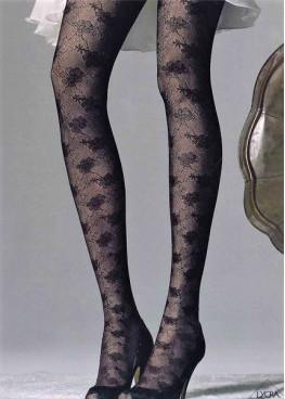 Елегантен чорапогащник с флорални мотиви Omsa Parfume в черен цвят