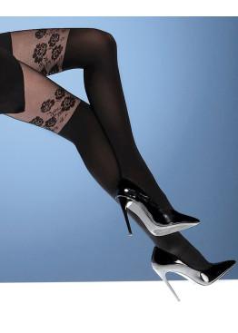 Фигурален чорапогащник имитиращ 7/8 чорапи с цветя Bellissima Boutique