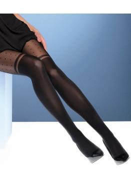 Фигурален чорапогащник имитиращ 7/8 чорапи с точки Bellissima Avance