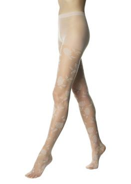 Фигурален чорапогащник на цветя в телесен и черен цвят Pompea Megan