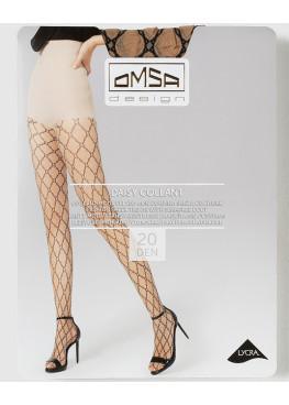 Фигурален чорапогащник на ромбове Omsa Daisy 20den в телесен и черен цвят