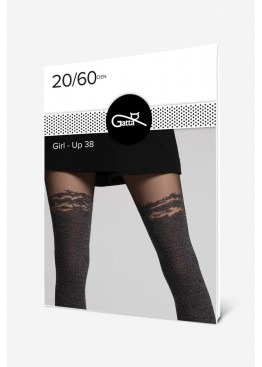 Фигурален плътен чорапогащник имитиращ 7/8 чорапи Gatta Girl Up 38