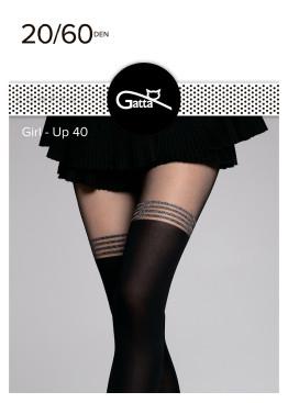 Фигурален плътен чорапогащник имитиращ 7/8 чорапи Gatta Girl Up 40 със сребристи ленти
