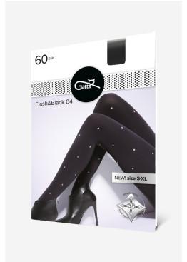 Фигурален плътен чорапогащник на сребристи точки Gatta Flash & Black 04