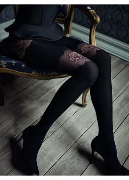 Луксозен фигурален чорапогащник имитиращ 7/8 чоарапи с роза Marilyn GUCCI G49