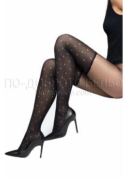 Луксозен фигурален чорапогащник имитиращ чорапи на точки Marilyn Zazu S04