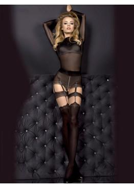 Луксозен секси чорапогащник имитиращ чорапи със жартиерни Studio Collant 300