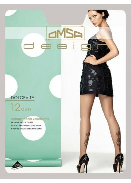 Тънък фигурален чорапогащник с татуировка Omsa Dolcevita 12den
