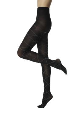 Плътен фигурален черен чорапогащник с очертани ромбове в контрастен цвят Pompea Veronika 50 Den